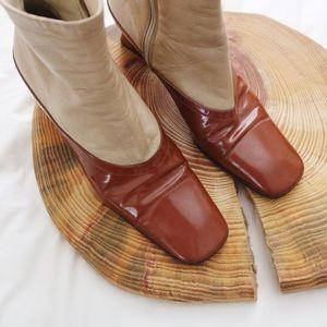 Vintage Prada leather heel ankle boots